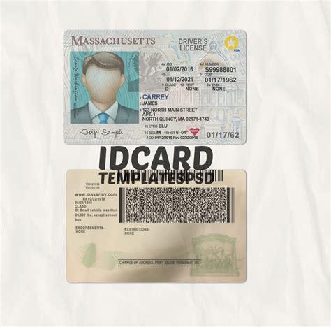 massachusetts driver license psd id card templates psd