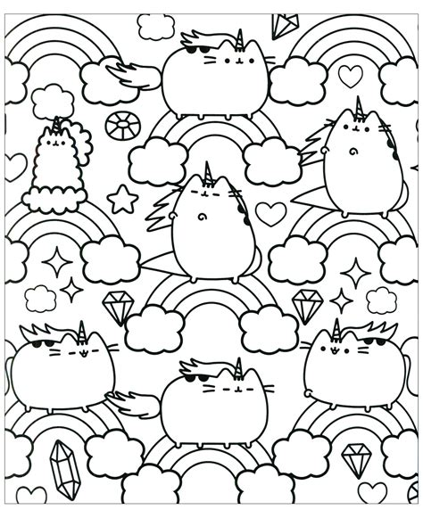 chat pusheen  arc en ciel coloriage kawaii coloriages pour enfants avec chat pusheen  arc en