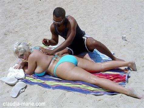 interracial beach claudia marie giant fake tit fat ass