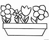 Coloring Simple Flowers Printable sketch template