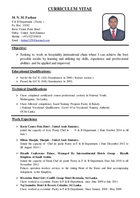Cv Format For Cook by Asst Pastry Chef Cv