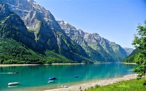 switzerland scenery mountains lake glarus nature