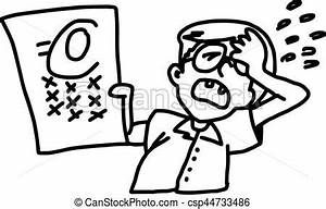 Boy with glasses showing his failed exam - illustration ...