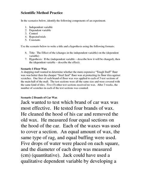 scientific method scenarios worksheet science materials