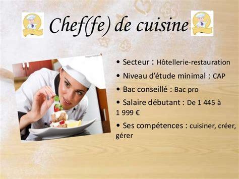 salaire bac pro cuisine les futurs métiers