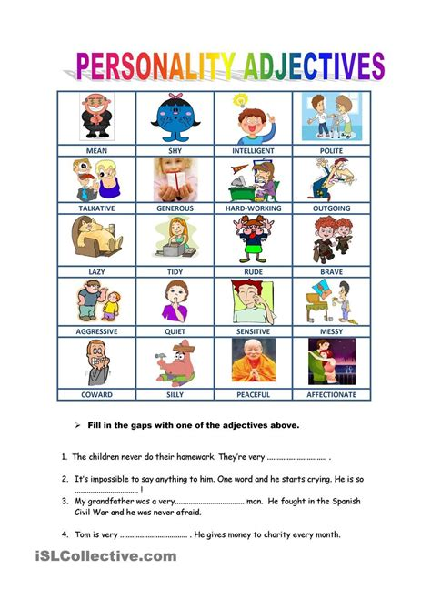 personality descriptions esol literacy projects