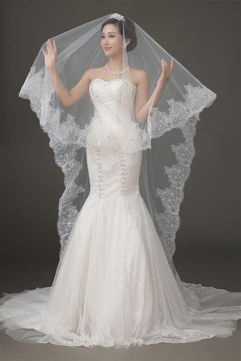 Lace Edge Long Wedding Veil