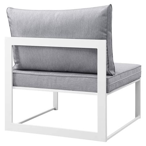 fortuna armless outdoor patio chair white frame gray