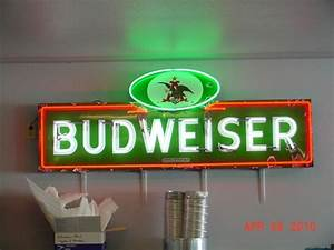 Green Porcelain Budweiser Neon Sign