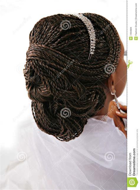 fancy female hair braid closeup stock photo image