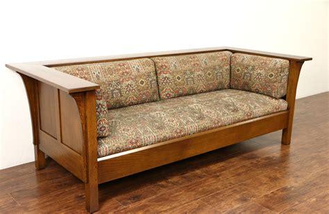 sold stickley signed craftsman oak vintage sofa original upholstery harp gallery