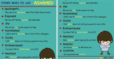 word  ashamed  synonyms  ashamed