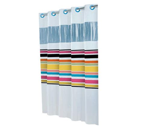 hookless between the lines shower curtain w vinyl window