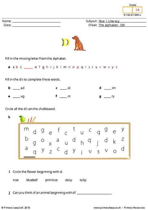 literacy  alphabet dd worksheet primaryleapcouk