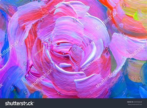 Abstract Acrylic Painting On Black Background by Abstract Acrylic Painting Flowers On The Black