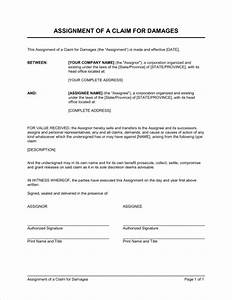 assignment of a claim for damages template sample form With assignment of benefits form template