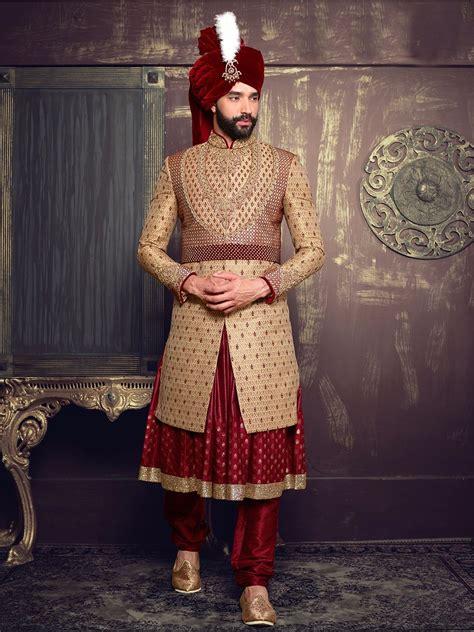 beige maroon silk layered anarkali sherwani wedding