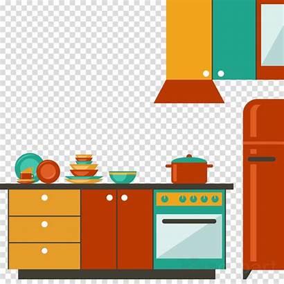 Clipart Kitchen Furniture Cartoon Transparent Table Clip