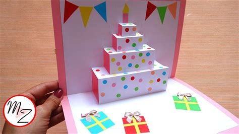 easy birthday card template diy cake pop up card for birthday easy 3d cards diy