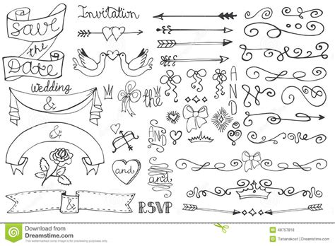 Cute Bridal Shower Themes by Wedding Ribbons Swirl Borders Decor Set Doodle Stock