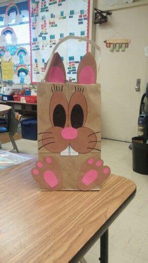 easter bunny basket    brown paper bag