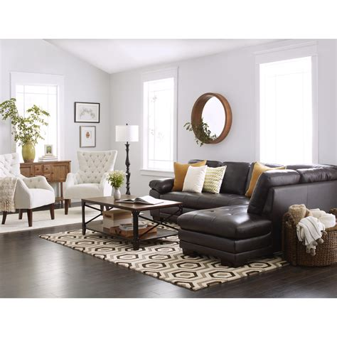 Living Room Brown Sofa by Abbyson Devonshire Leather Tufted Sectional In 2019