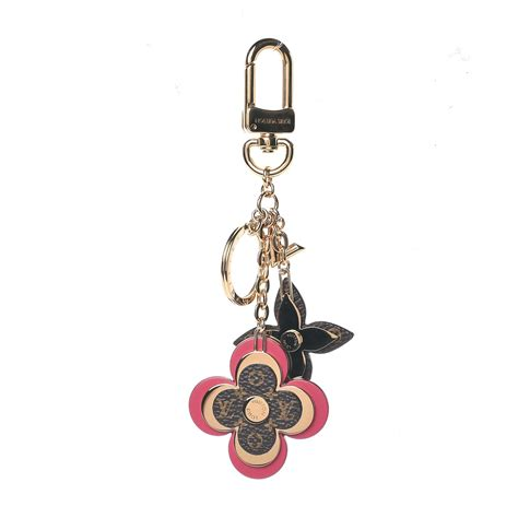 louis vuitton monogram blooming flowers bag charm key holder brown