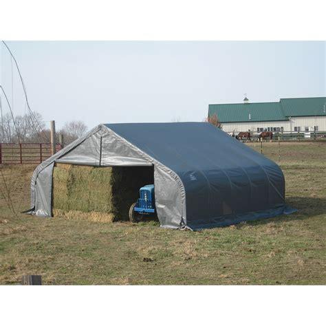 shelter garage shelterlogic 18ftw peak style instant garage 20ftl x 18ftw