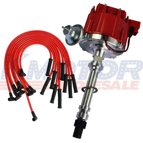 Red Spark Plug Wires Distributor For Sbc Bbc