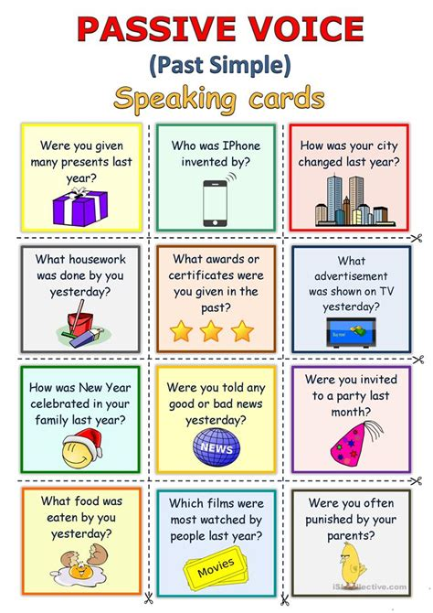passive voice  simple speaking cards english esl