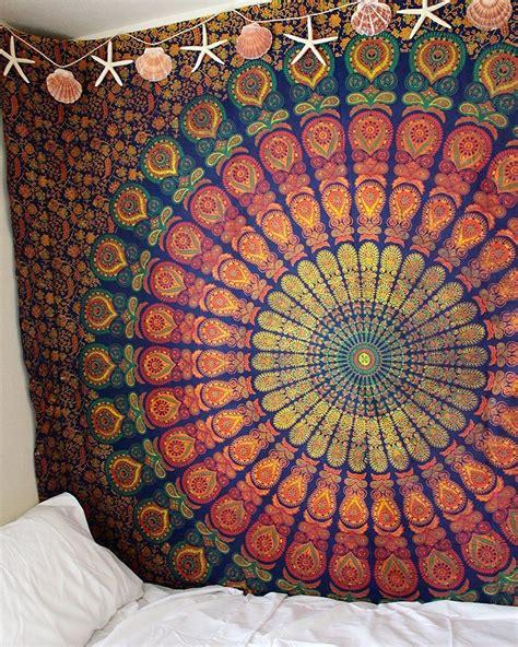 blue yellow hippie medallion mandala boho tapestry wall