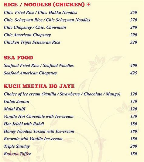 Chinese Restaurant Boat Club Road Pune by Menu Of Pali Village Mira Road East North Western