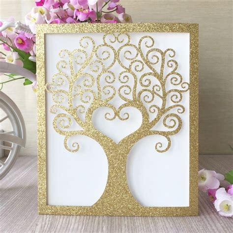 30pcs/lot Luxury Glitter Gold Invitations Card Romantic