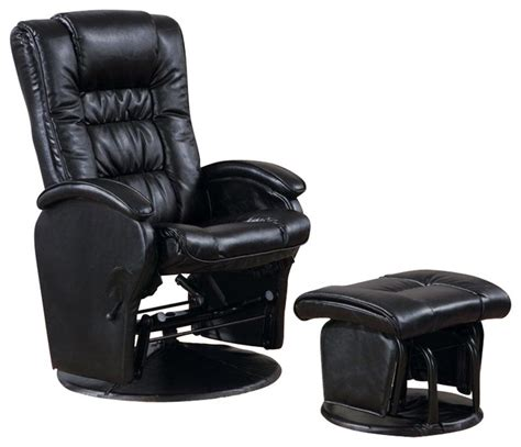 faux leather glider recliner with ottoman coaster deluxe faux leather glider with ottoman in black