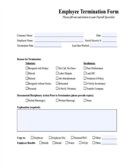 Termination Of Employment Form Template by Free Employment Form Sles 35 Free Documents In Word Pdf