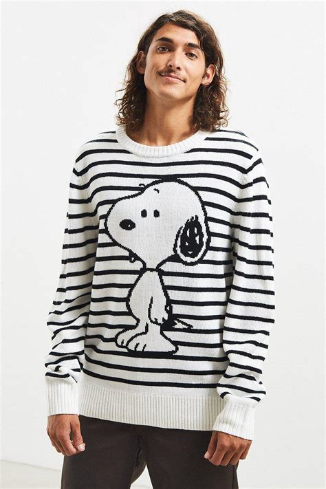 urban outfitters synthetic snoopy striped sweater  white  men lyst