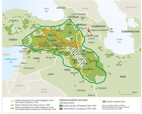 maps showing kurdistan boarders ethnic    towns