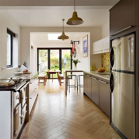 kitchen flooring ideas uk galley kitchen with parquet flooring be inspired by a