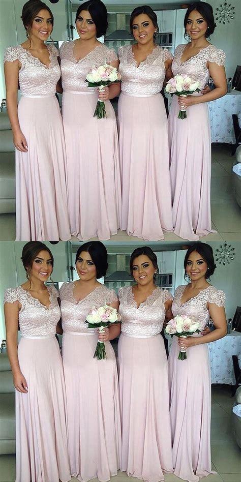 A-line V Neck Cap Sleeves Long Lavender Bridesmaid Dress ...