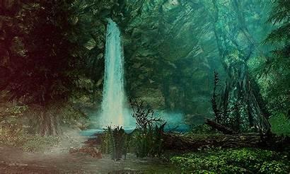 Forest Skyrim Animated Nature Gifs Waterfalls Elder
