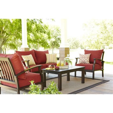 allen and roth patio furniture allen roth set of 2 gatewood brown aluminum cushioned