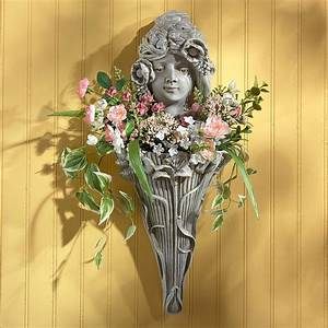 Design, Toscano, Art, Nouveau, Poppy, Princess, Wall, Planter, Sculpture