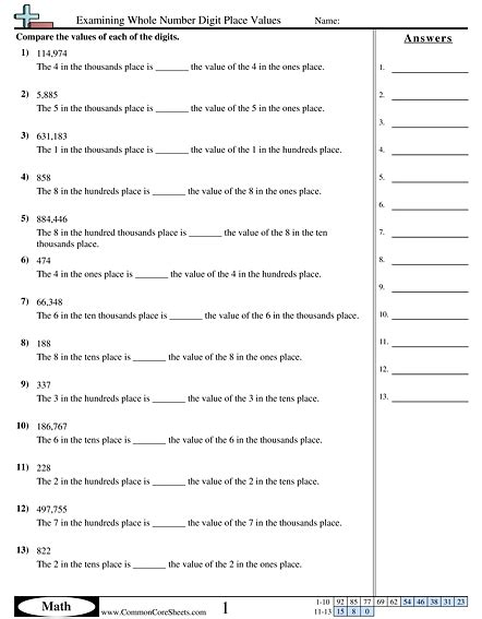 value place value worksheets free commoncoresheets
