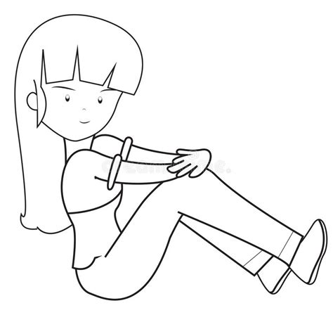 girl   long hair coloring page stock illustration