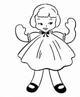 Coloring Doll Pages Simple Rag Dall Sheets Objects Colouring Activity Drawing Dolls Paper Drawings Barbie Clip Books American Printable Bluebonkers sketch template