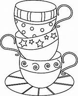 Teapot Tea Pattern Stencils Embroidery Coloring Pages Cups Drawing Patterns Teacups Sewing Piece Coffee sketch template
