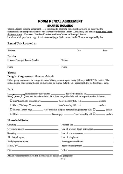 printable room rental agreement form  template