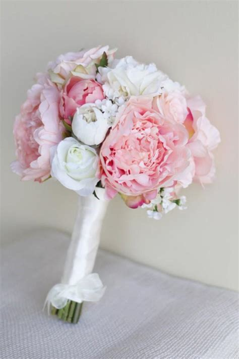 shabby chic wedding flowers decor silk bride bouquet peony flowers pink peach spring mix shabby chic wedding decor 2282983 weddbook