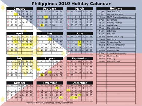 Philippines 2019 / 2020 Holiday Calendar