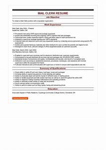 Objectives For Job Resumes Sample Mail Clerk Resume